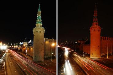 """Вид на Кремль с подсветкой и после ее отключения в рамках экологической акции """"Час Земли"""""""