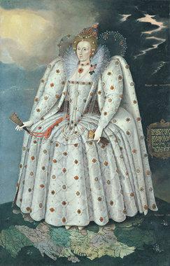 Маркус Герартс Младший. «Портрет Елизаветы I (Портрет из Дичли)». Около 1592 г. Холст, масло. Размер без рамы: 241,3 x 152,4 см. Размер в раме: 256,6 х 172,4 х 11,6 см.Получено по завещанию Гарольда Ли-Диллона, Семнадцатого виконта Диллона в 1932 г.