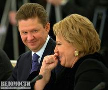 Губернатор Санкт-Петербурга Валентина Матвиенко и предправления «Газпрома» Алексей Миллер.