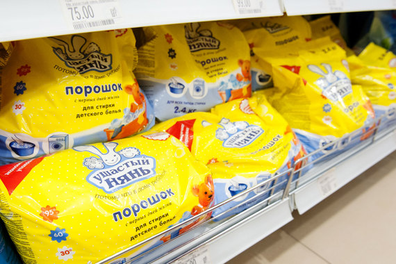 Продукция под брендом «Ушастый нянь», в том числе и порошки, производится не только на украинском заводе