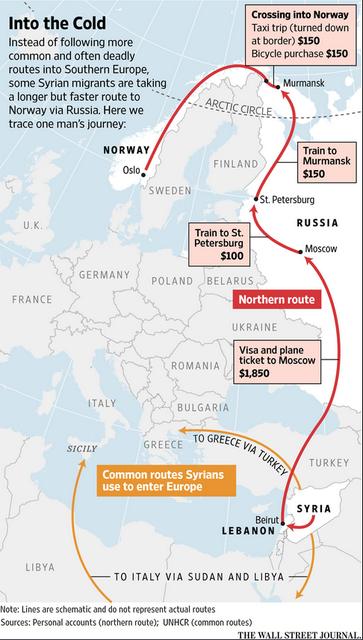 Оранжевые стрелки – традиционные маршруты, по которым сирийские беженцы добираются в Европу (по данным Агентства ООН по делам беженцев); красные стрелки – маршрут сирийского учителя