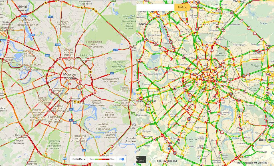 """Сравнение картин дорожного движения Москвы по """"Яндексу"""" и Google на 16.57"""
