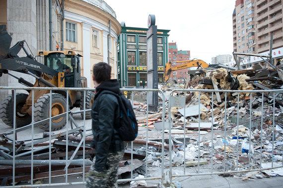 В ночь с 8 на 9 февраля в Москве начался снос 97 объектов торговли близ станций метро. На снимке — Новослободская улица