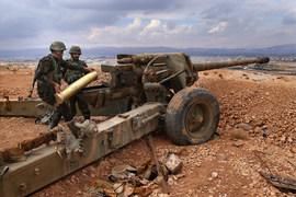 Сирийские артиллеристы, архивный кадр