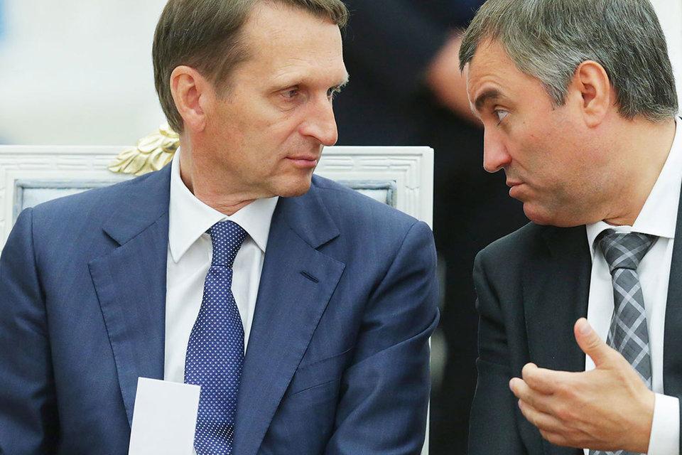 Однажды Вячеслав Володин (справа) уже занимал должность, оставленную Сергеем Нарышкиным, – во главе аппарата правительства