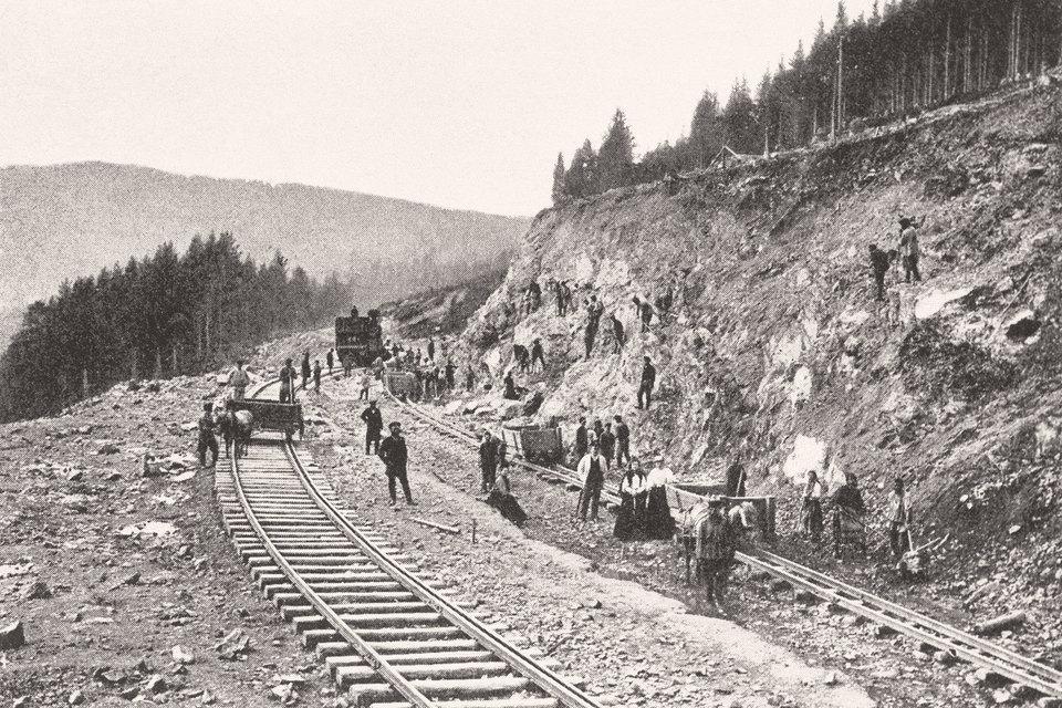 Строительство Транссибирской железной дороги на участке Екатеринбург-Челябинск, 1900 г.