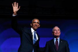Президент США Барак Обама и бывший мэр Нью-Йорка Майкл Блумберг