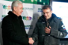 Мэр Москвы Сергей Собянин (слева) должен быть признателен президенту Сбербанка Герману Грефу за московскую регистрацию