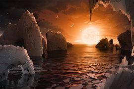 Иллюстрация, показывающая возможную поверхность TRAPPIST-1F, одной из недавно обнаруженных планет в системе TRAPPIST-1