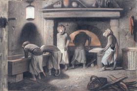 Александр-Габриэль Декан, «Обезьяны-пекари», угольный карандаш, сангвина и мел