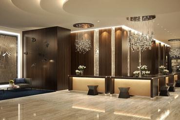 Лобби Hilton Saint Petersburg ExpoForum, первого отеля под брендом Hilton в Санкт-Петербурге