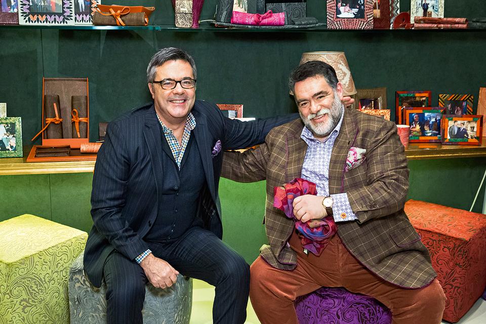Якопо Этро, креативный директор линии аксессуаров, текстиля и коллекций для дома Etro, и Михаил Куснирович, основной владелец, председатель совета директоров группы Bosco di Ciliegi