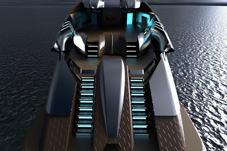 Суперъяхта Mark 48 будет выглядеть в инопланетном стиле