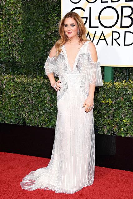 Актриса Дрю Бэрримор в драгоценностях Harry Winston на Golden Globe2016