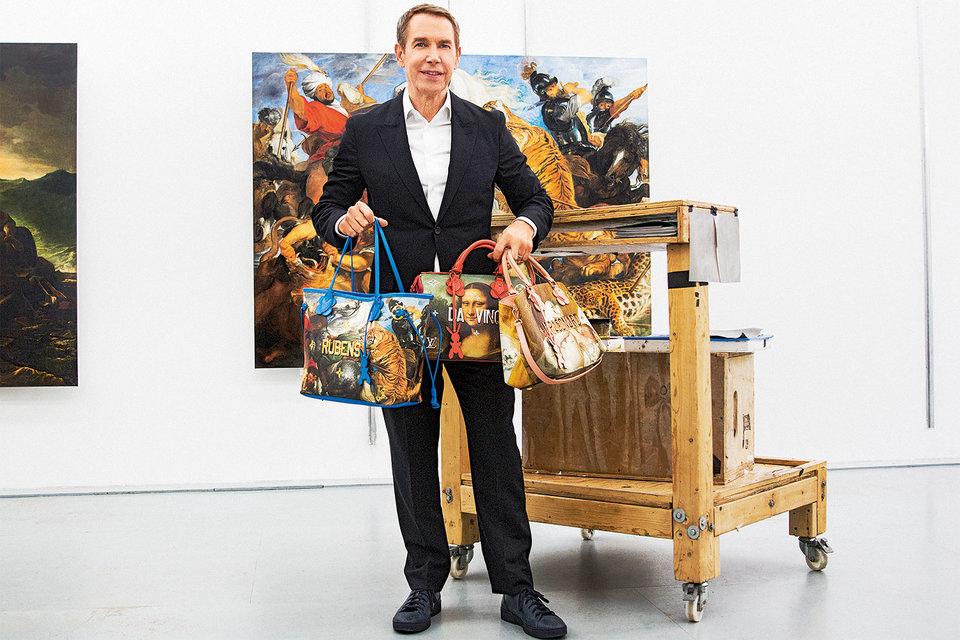 Художник Джефф Кунс с сумками Louis Vuitton из коллекции Masters
