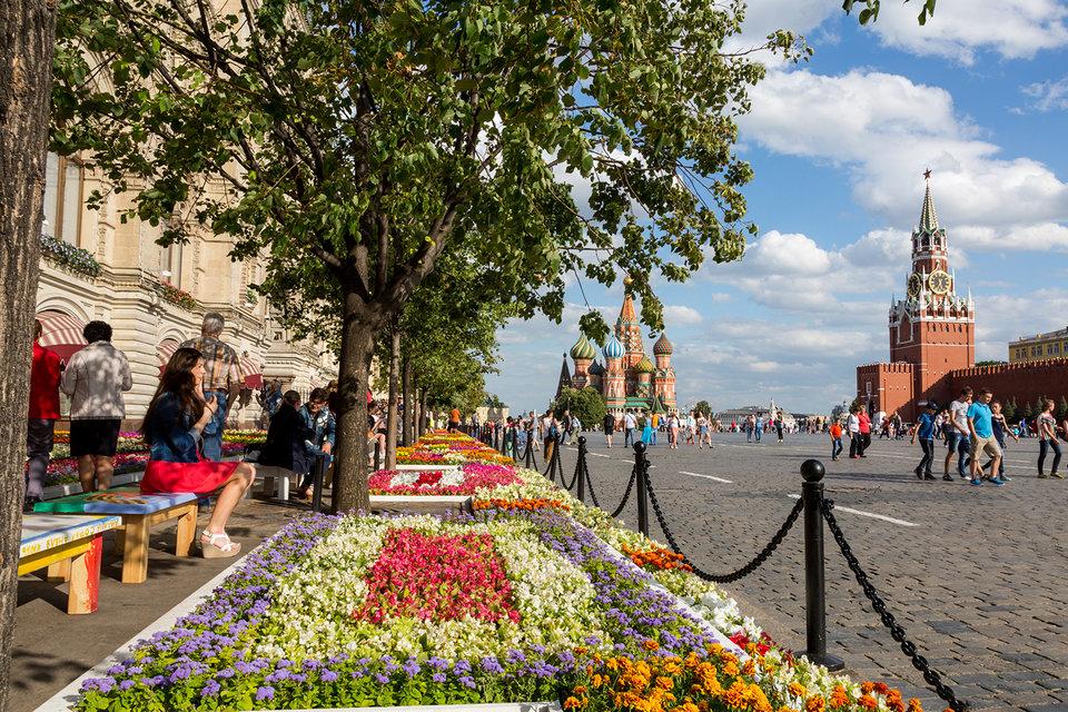 Вдоль фасада ГУМа вновь расцветут ковры из живых цветов