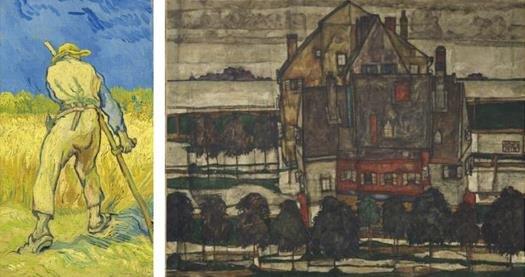 Винсент ван Гог, «Жнец (по Милле)» (1889 год); Эгон Шиле, «Жилые дома» (1915 год)