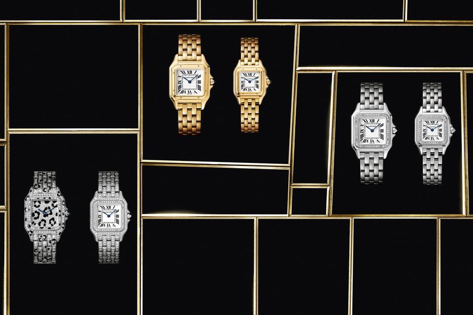 Среди 12-ти вариаций новых женских часов Panthère de Cartier имеется модель из белого золота с «хищными» пятнышками из оникса