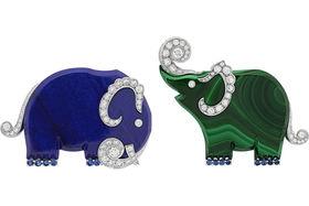 Van Cleef & Arpels, броши Elephants из коллекции L'Arche de Noe, белое золото, малахит, ляпис-лазурь, бриллианты