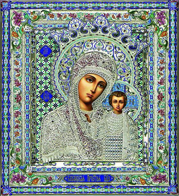 Икона Казанской Божией Матери, выполненная втехнике ростовской финифти