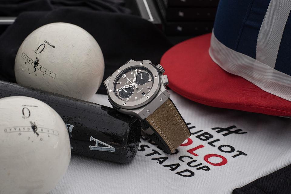 Часы Hublot Classic Fusion «Chukker». На отметке «9 часов» помещен счетчик, который отсчитывает чуккеры, или таймы в игре в поло, длиной в семь с половиной минут