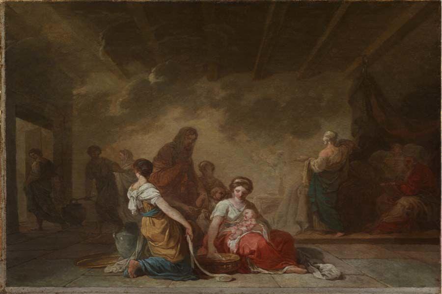 Joseph Benoit Suvée Bruges, 1743 – Rome, 1807Esquisse pour La Naissance de la Vierge, 1779 Huile sur toile, 50,5 x 66,5 cm