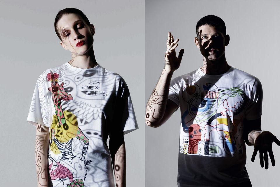 В лимитированную коллекцию художника Брайана Кенни для Christian Lacroix вошли футболки с яркими принтами