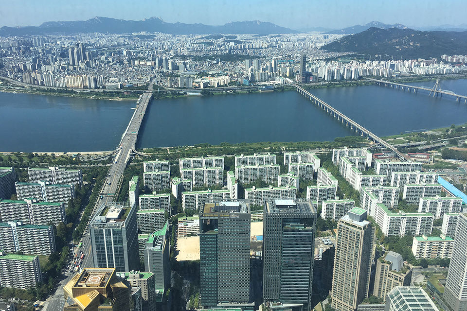 Вид из окна 95 этажа Lotte World Tower