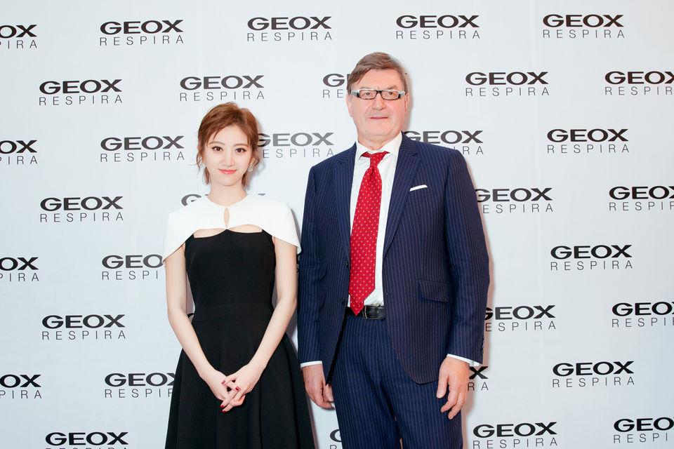 Президент Geox Марио Моретти Полегато и амбассадор бренда в Китае актриса Цзинь Тянь