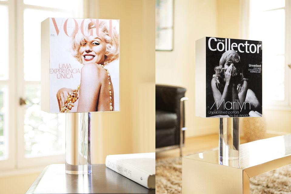 Для создания светильников Marilyn Monroe использовали обложки винтажных глянцевых журналов