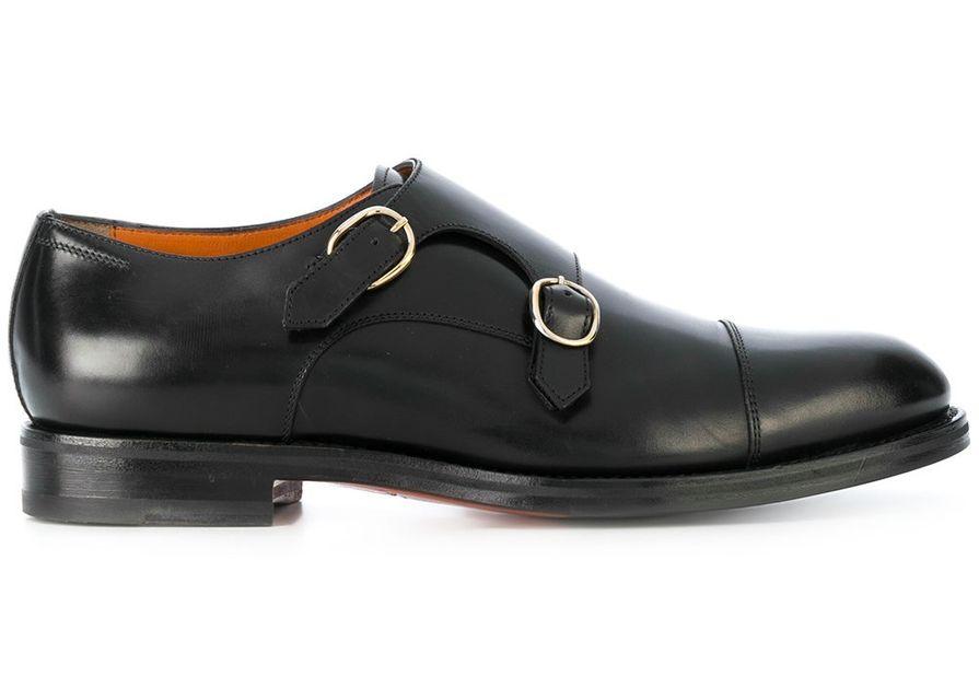 Монки Santoni сдержанного черного цвета — вариант, подходящий и для офиса, и для отдыха.