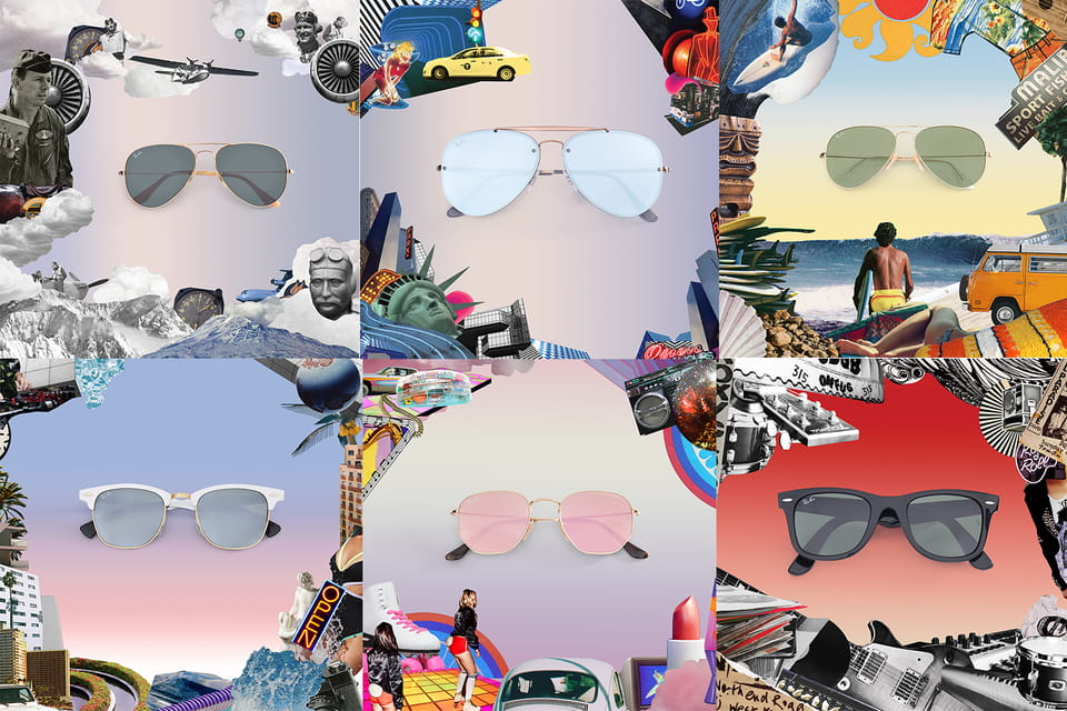 Коллаж из образов рекламной кампании Ray-Ban Reinvented (автор фотографий – Дьюи Сондерс)