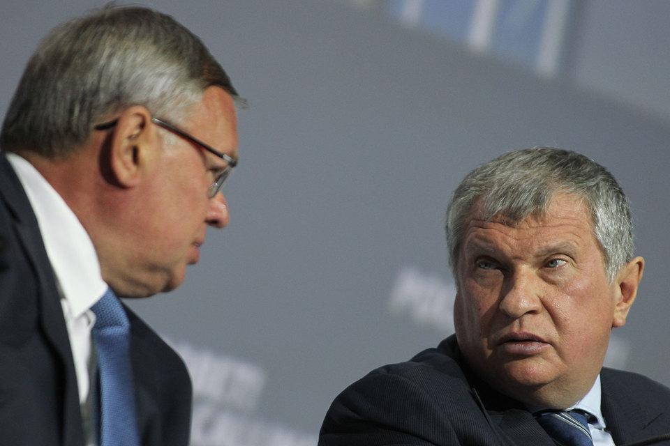 Президент ВТБ Андрей Костин и главный исполнительный директор «Роснефти» Игорь Сечин