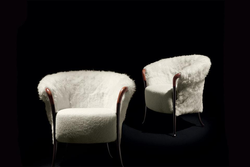 Кресла Progetti Fashion из бука и мутоновой обивки Katori – совместная работа Giorgetti и текстильного бренда Agnona