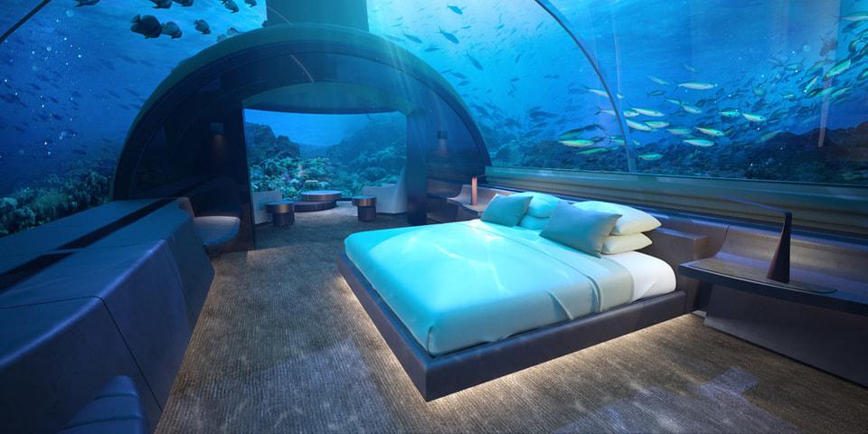 ...и спальня с подводными видами - на нижнем уровне