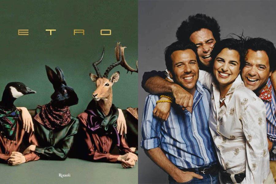 Первая монография 2014 года, посвященная истории модного Дома Etro (обложка) и семья Этро – Ипполито, Киан, Вероника, Джакопо