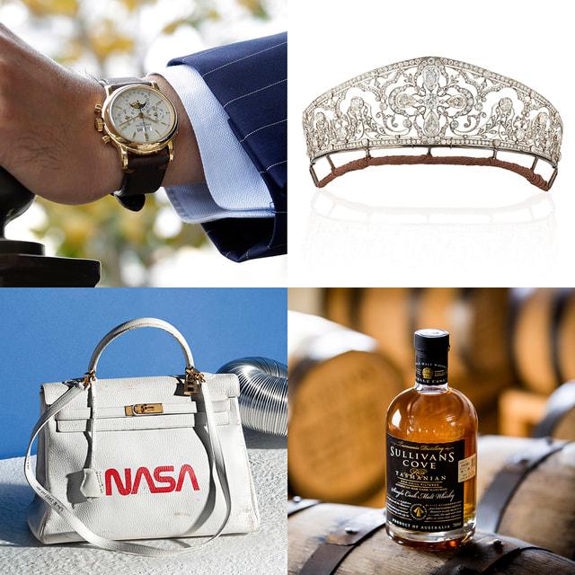 По часовой стрелке: Часы Patek Philippe 3970J, тиара, созданнав в 1905 году, виски Sullivans Cove American Oak Cask, сумка Hermes Kelly 1996  года