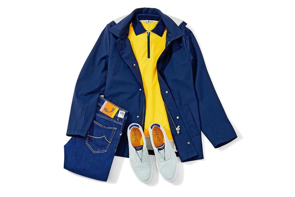 Ветровка и рубашка-поло, все – Atelier Portofino; кожаные слиперы – Svevo; джинсы – Jacob Cohen