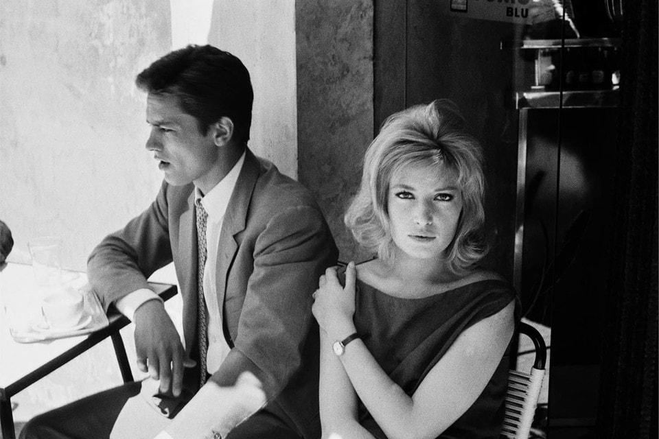 Ален Делон и Моника Витти, муза режиссера Микеланджело Антониони на съемках «Затмения», Рим, 1961 г.
