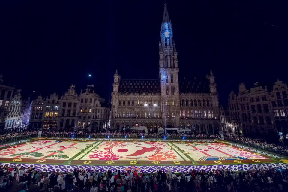Так цветочный ковер в Брюсселе выглядел в прошлом году