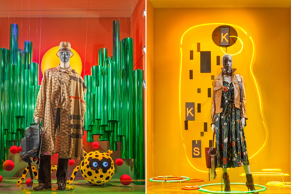 Слева витрина по мотивам картины Анри Руссо «Нападение ягуара», а справа, конечно – Густав Климт, «Поцелуй»