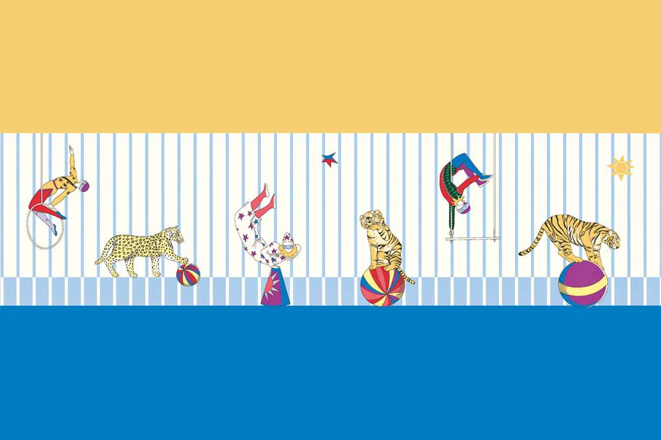 Рисунок детских обоев Circus повторояет одноименный шелковый платок