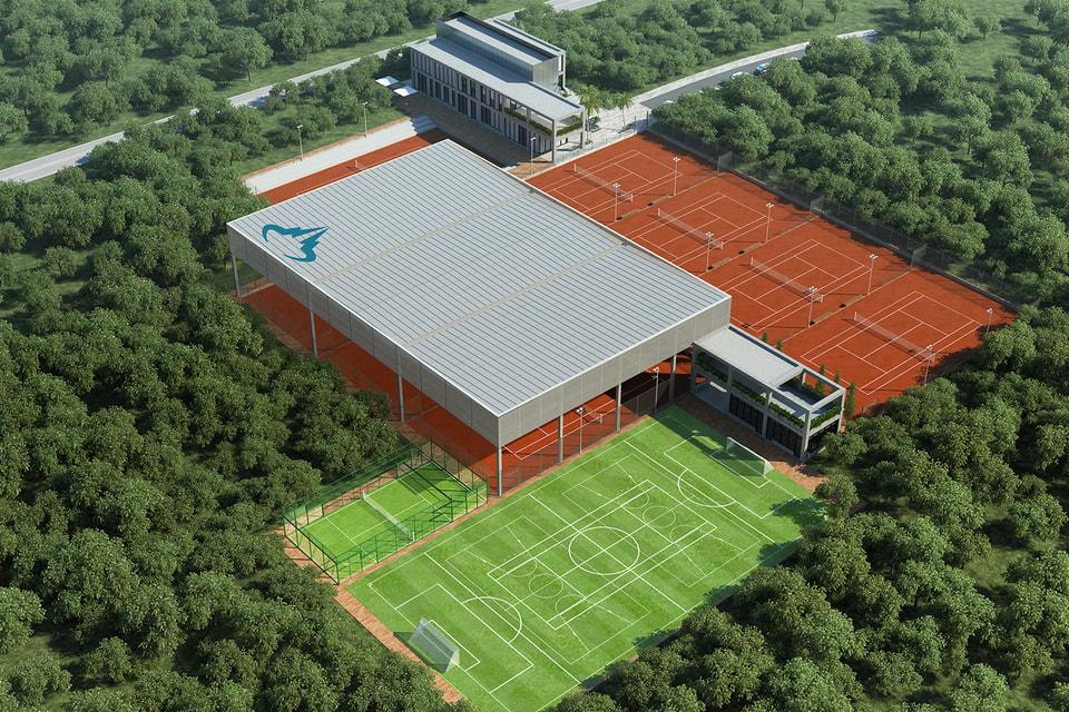 Вид на теннисный центр с высоты птичьего полета (концепт)
