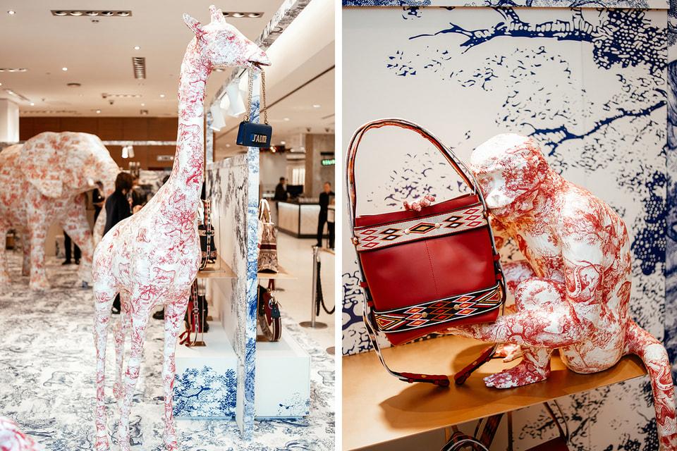 Жираф, обезьянка и другие животные – художественная инсталляция во временном бутике Dior