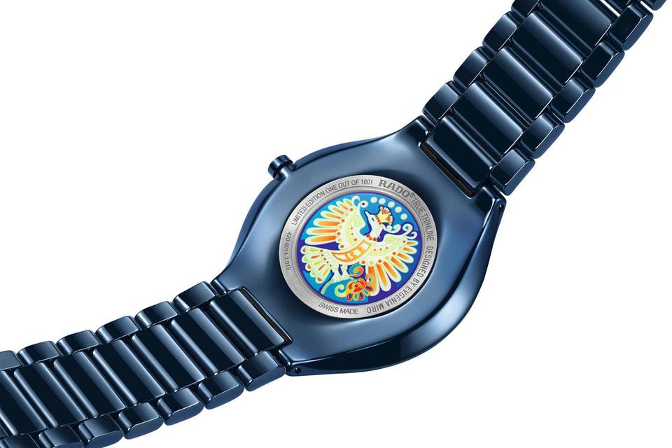 Символическое изображение Жар-птицы в технике цифровой печати украшает сапфировую крышку на обратной стороне часов