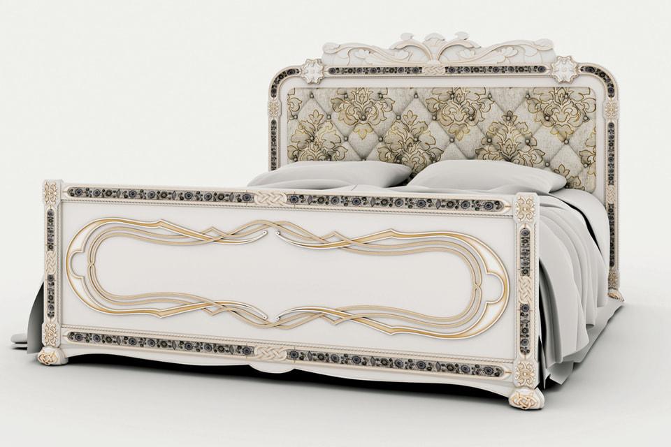 Буковая кровать с художественной отделкой Levadnaja Details для фабрики «Русский дизайнерский дом»