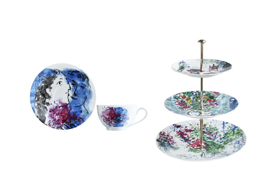 Чайная пара и этажерка для фруктов из  сервиза «Букет цветов Марка Шагала»