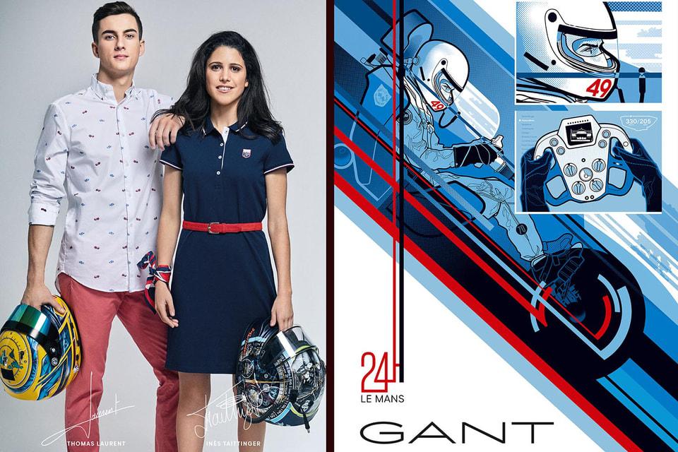 Слева на фото участники  кампании  Gant x Le Mans, гонщики  Инес Тэтэнже и Тома Лоран. Справа – рекламный постер, созданный иллюстратором  Йонасом Бергстрандом