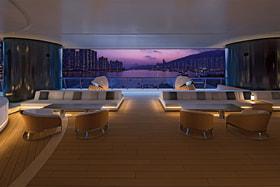 С «палубы» комплекса Pavilia Bay, проектом которого занимался яхтенный дизайнер Филипп Бриан, виден вантовый мост Тинг-Кау
