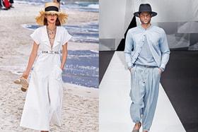 Образ из женской коллекции  Chanel весна-лето 2019  и из мужской коллекции Giorgio Armani, весна-лето 2019